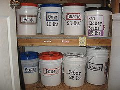 Image: white plastic buckets, 5 gallon buckets, food storage buckets