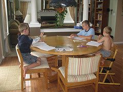 homeschool at table Sometimes, Homeschooling Aint All its Cracked Up To Be