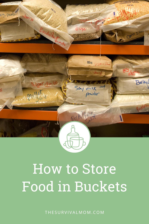 Many bags of bulk food like millet and barley on shelves