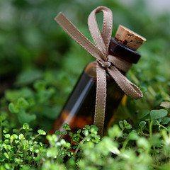 Image: bottle of essential oil, brown glass bottle