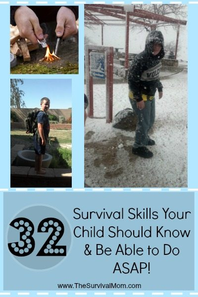 32 Survival Skills your child should know and be able to do asap. Great list of boredom busters! | via www.TheSurvivalMom.com