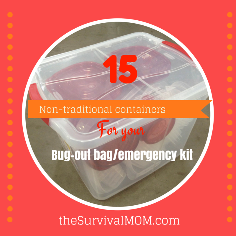 A backpack might not be the best choice for an emergency kit. Check out this list of non-traditional containers! | via www.TheSurvivalMom.com