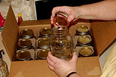 canning jars in box