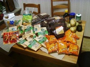 This is a real life haul of food from a dumpster. Image by sigurdas.
