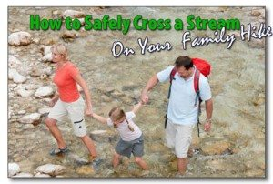 Family Crossing a Stream