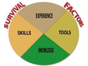 survival factors: knowledge, skills, experience and tools