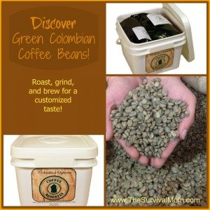 Coffee Reserves GIVEAWAY! Green Columbian Coffee Beans — a 10 lb. bucket!