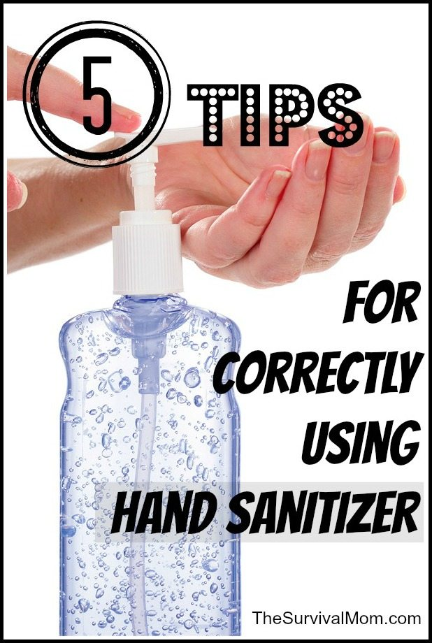 using hand sanitizer