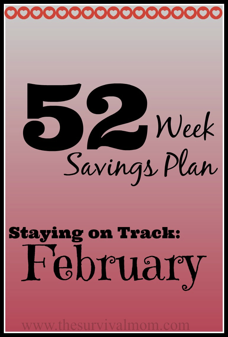 Stick with your budget and make progress with your 52 Weeks Savings Plan with these tips for February.   via www.TheSurvivalMom.com