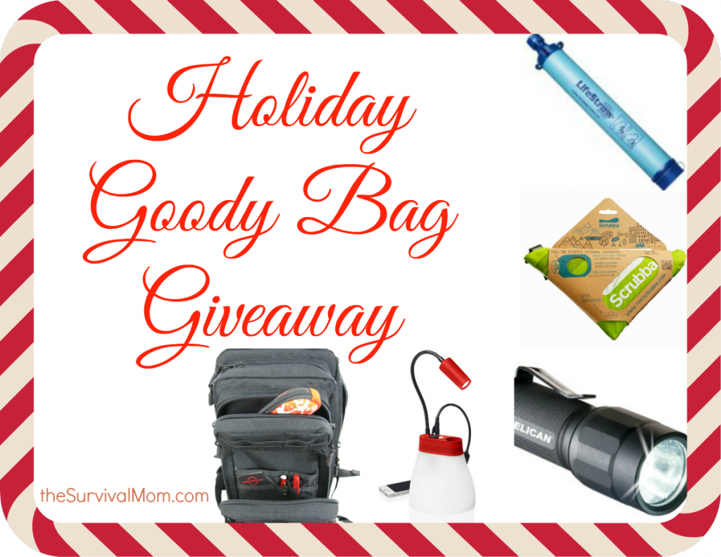 Here's your chance to win a Holiday Goodie Bag. Includes an LED flashlight, Scrubba Wash Bag, and so much more! Great prizes! | via www.TheSurvivalMom.com