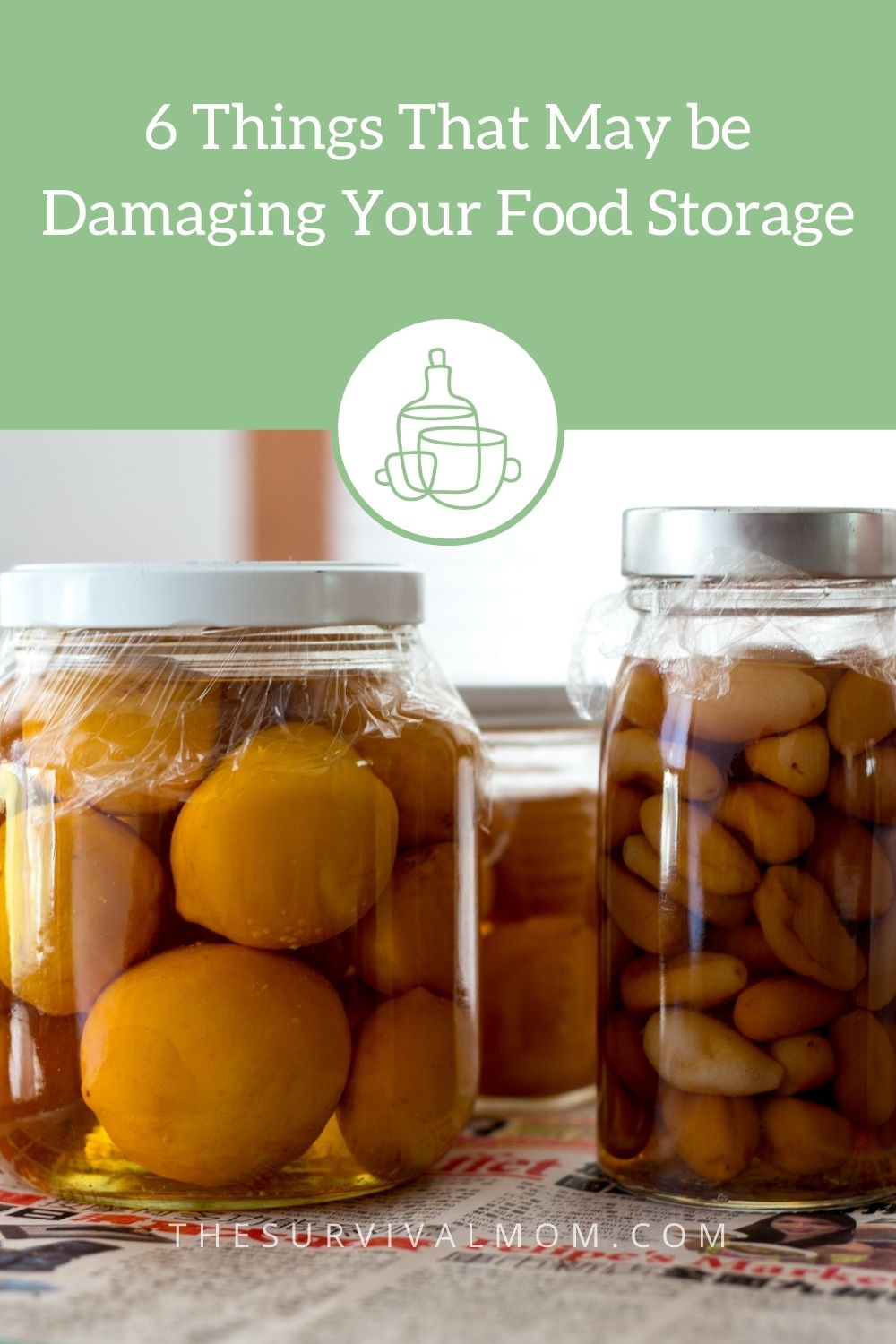 image: jars of preserved food, canned food for food storage, jars of preserved lemons and garlic