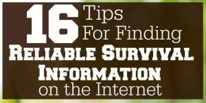 "Here are 16 tips for finding the most reliable survival information on the internet. Don't trust your survival to phonies and armchair ""experts""! www.TheSurvivalMom.com"