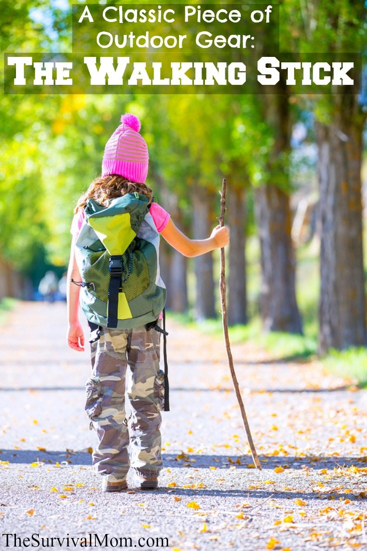 A walking stick has many different uses. www.TheSurvivalMom.com