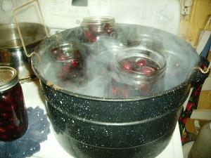 cherries in canner
