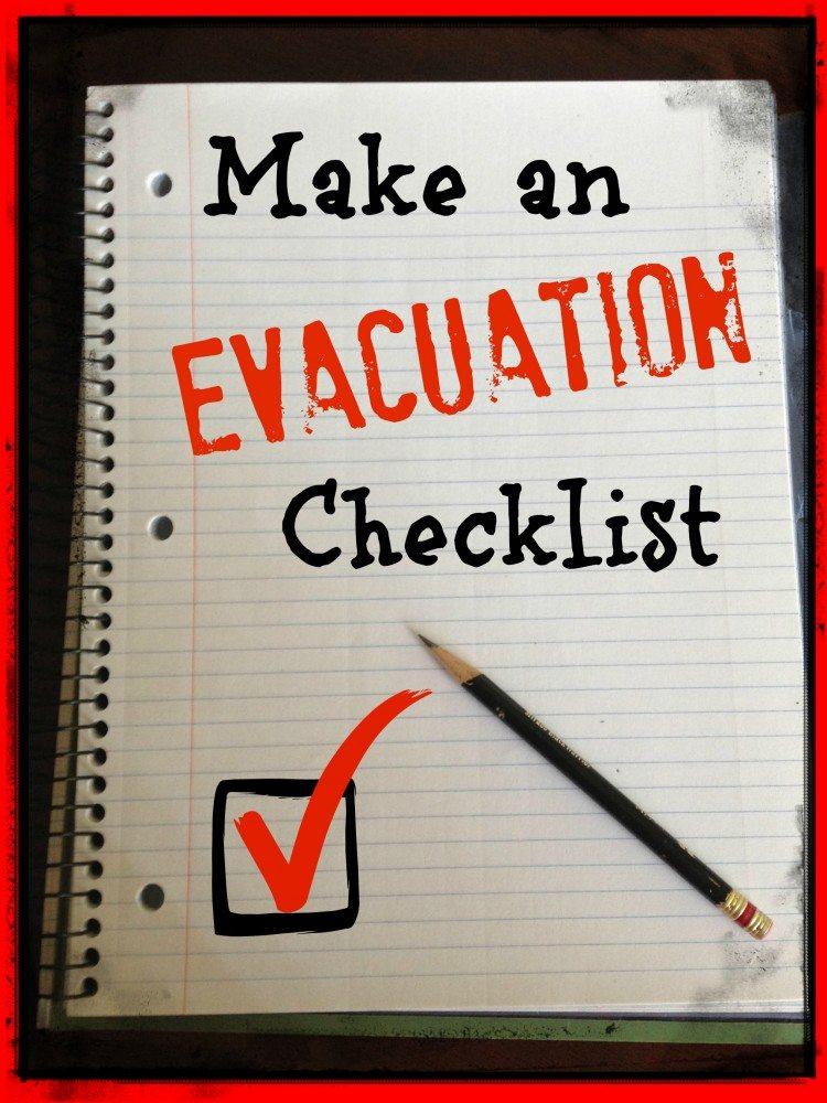 checklist for evacuations