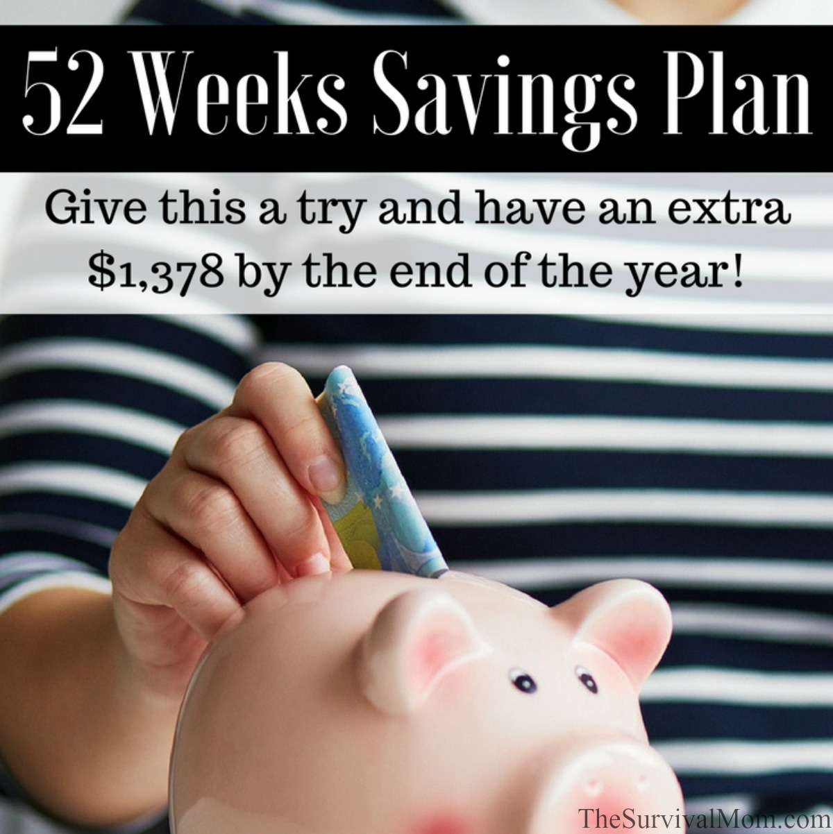52 Weeks Savings Plan Give this a try and have an extra $1378 by the end of the year via The Survival Mom