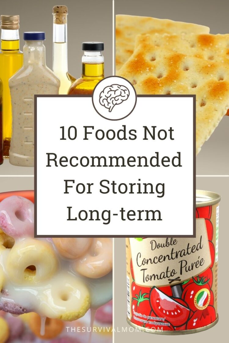 Foods to not store including salad dressing, saltine crackers, froot loops cereal in milk, red-labeled can of tomato puree