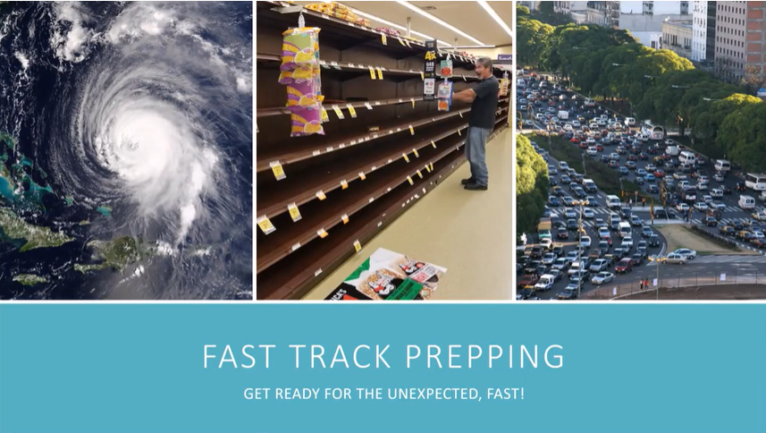 image: empty grocery store shelves, hurricane, traffic jam