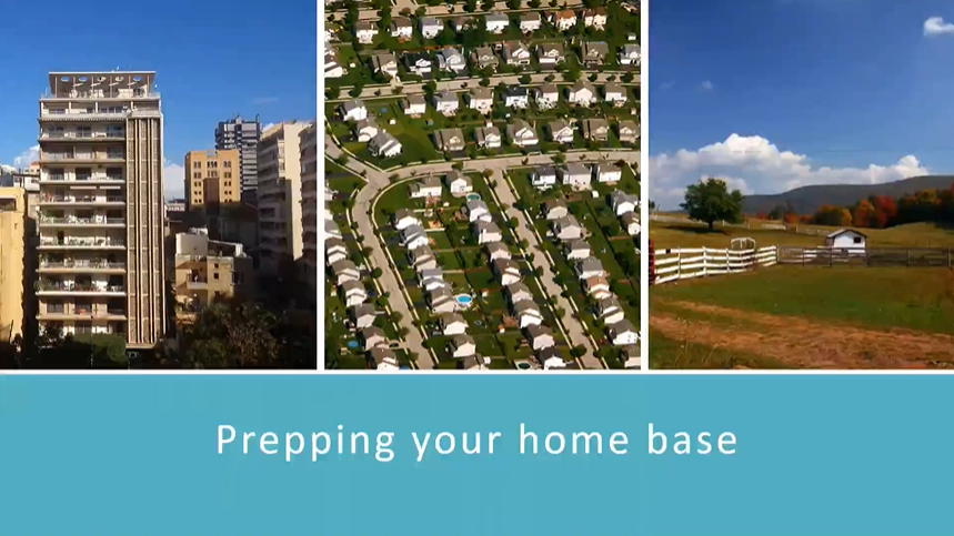 image: aerial view of neighborhood, apartment building